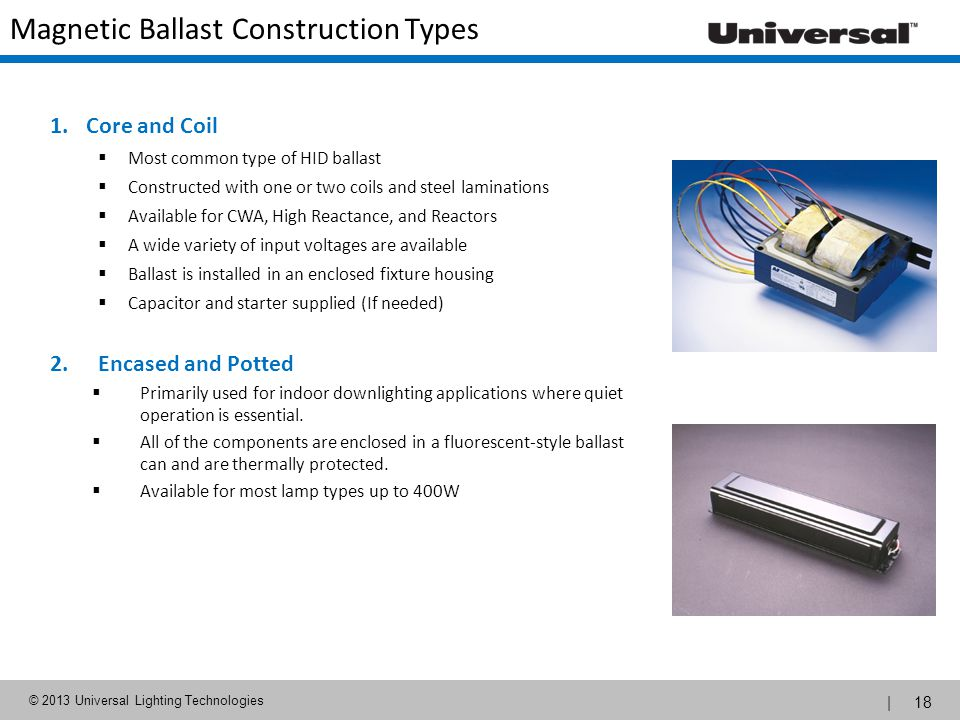 Magnetic Ballast Construction Types