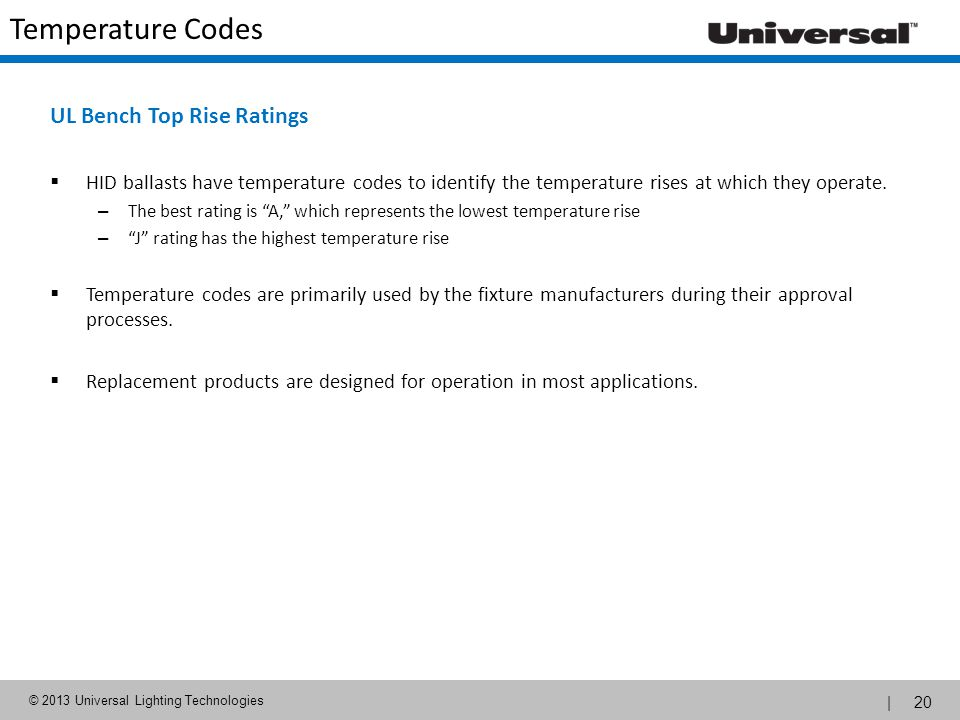 Temperature Codes UL Bench Top Rise Ratings