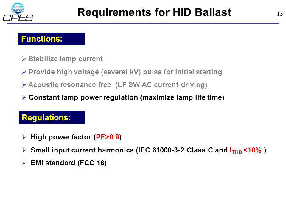 Requirements for HID Ballast