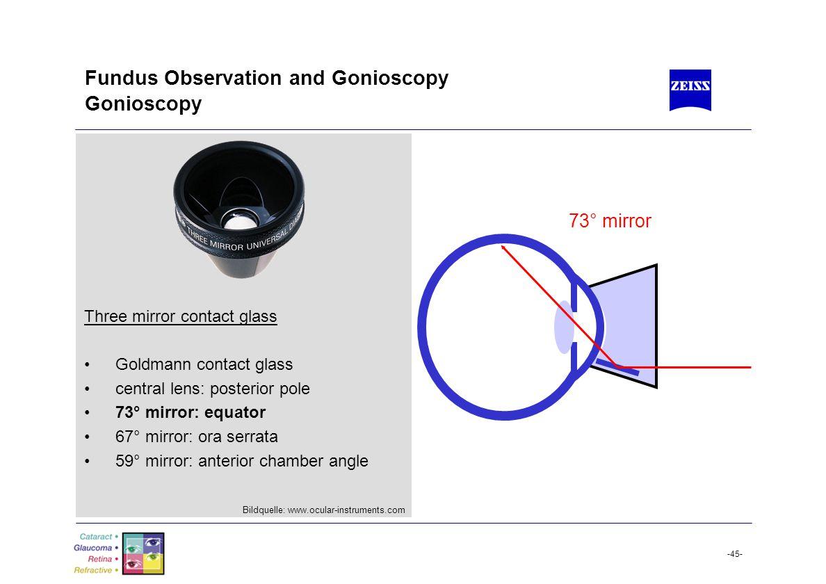 Fundus Observation and Gonioscopy Gonioscopy