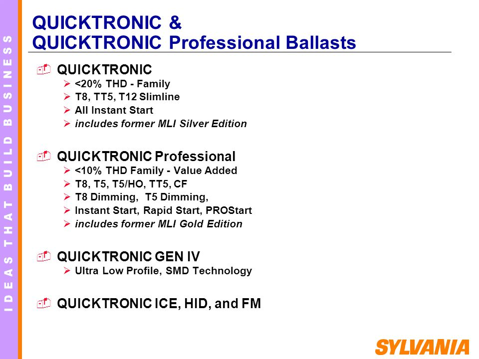 QUICKTRONIC & QUICKTRONIC Professional Ballasts