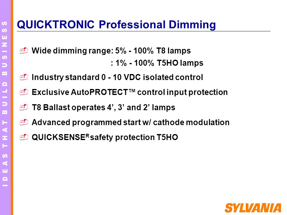 QUICKTRONIC Professional Dimming