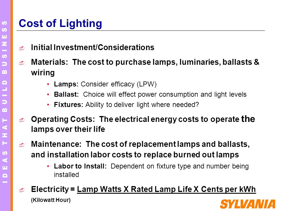 Cost of Lighting Initial Investment/Considerations