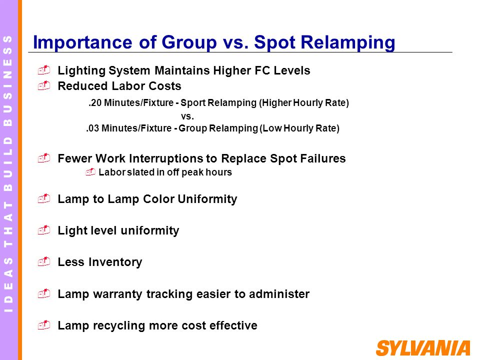 Importance of Group vs. Spot Relamping