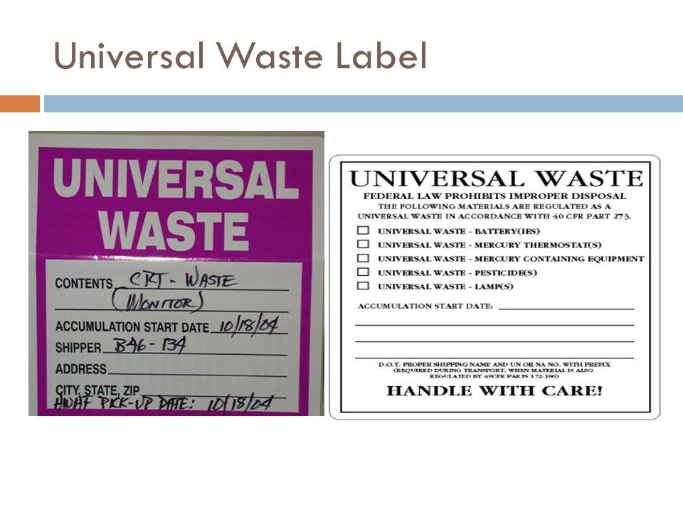 Universal Waste Label