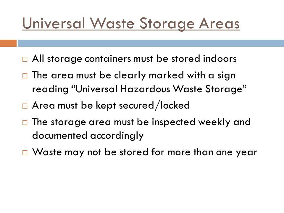 Universal Waste Storage Areas