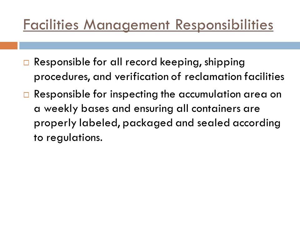 Facilities Management Responsibilities
