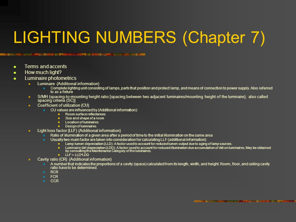 LIGHTING NUMBERS (Chapter 7)