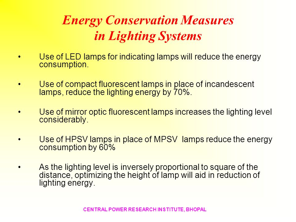 Energy Conservation Measures in Lighting Systems