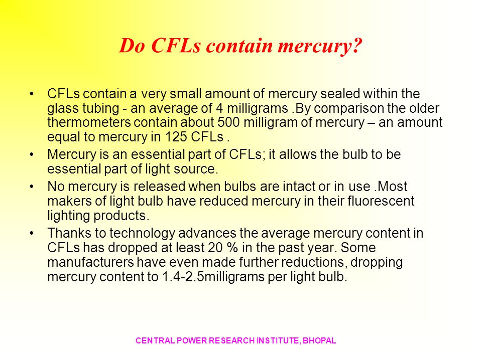 Do CFLs contain mercury