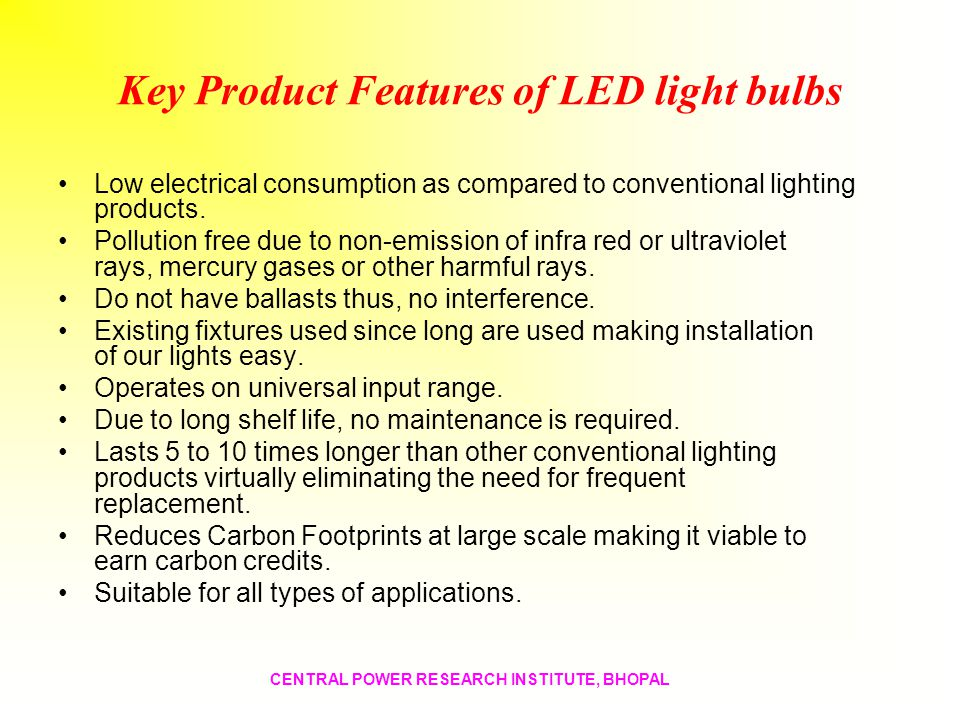 Key Product Features of LED light bulbs
