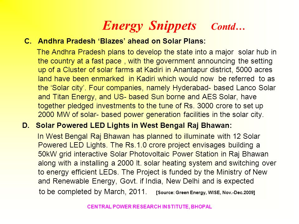 Energy Snippets Contd…
