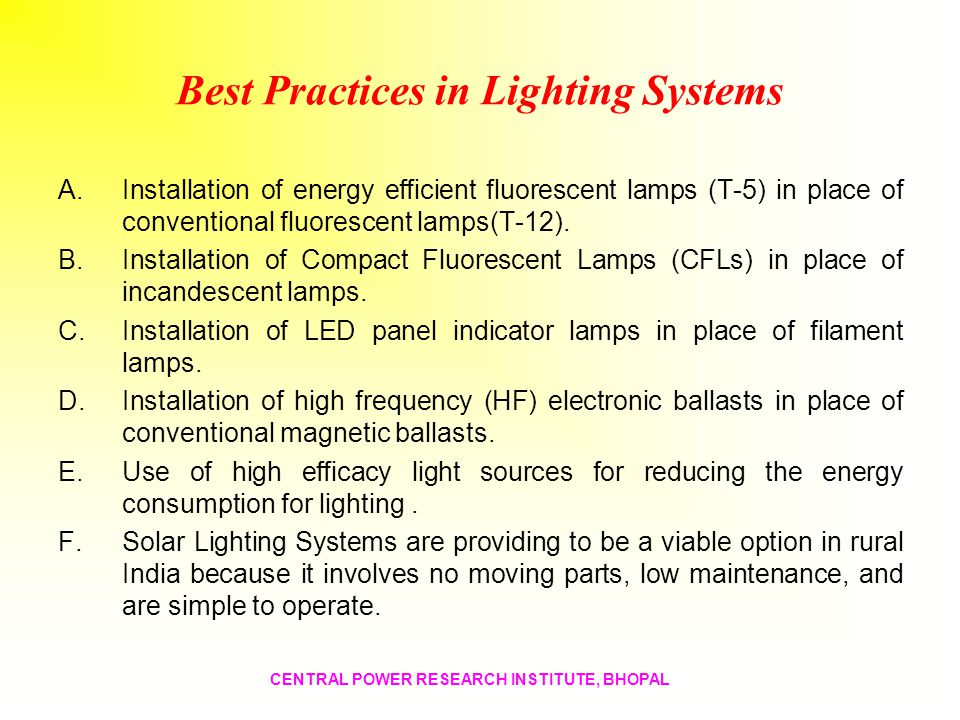 Best Practices in Lighting Systems