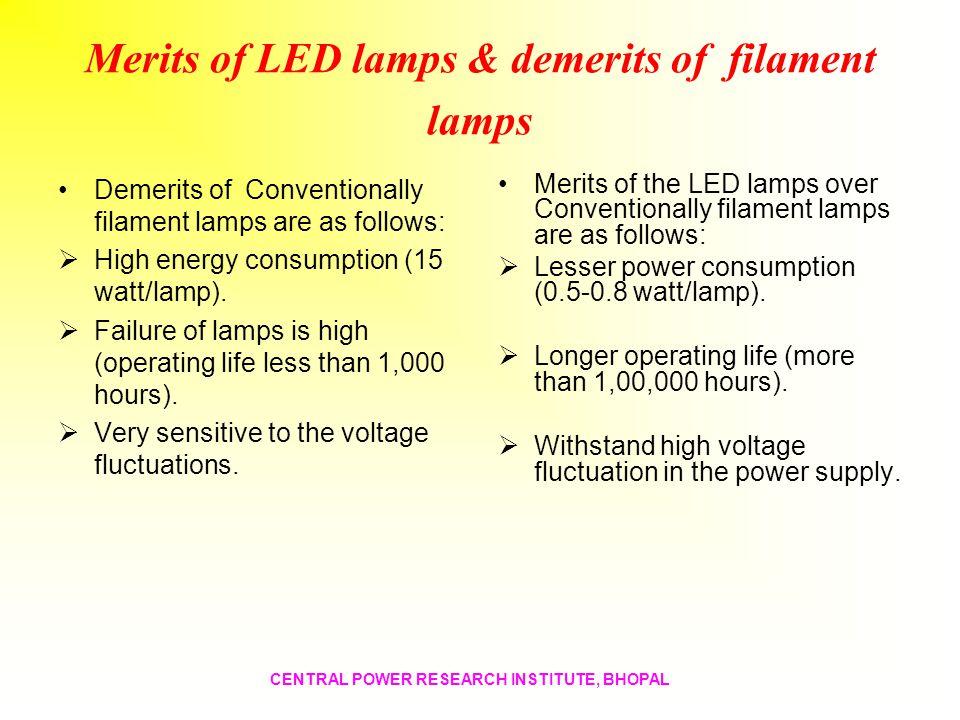 Merits of LED lamps & demerits of filament lamps