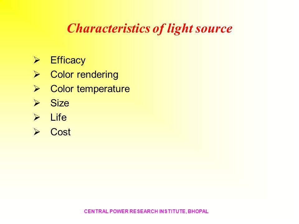 Characteristics of light source