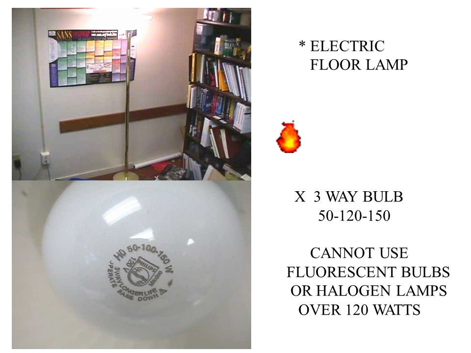 * ELECTRIC FLOOR LAMP. X 3 WAY BULB. 50-120-150. CANNOT USE. FLUORESCENT BULBS. OR HALOGEN LAMPS.