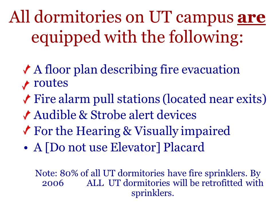 All dormitories on UT campus are equipped with the following: