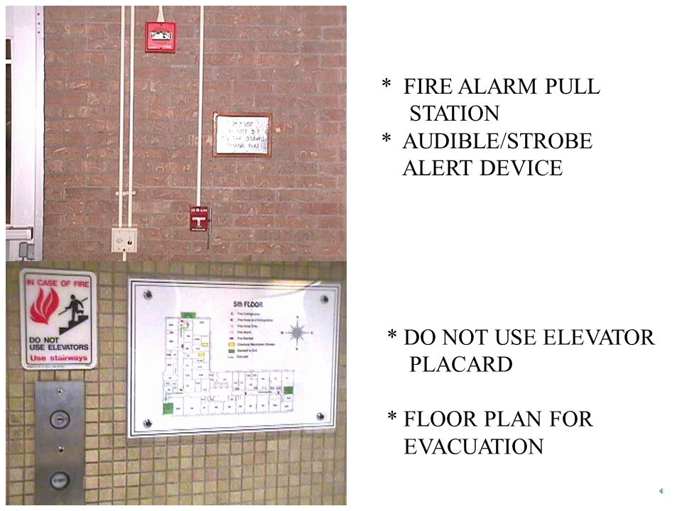 * FIRE ALARM PULL STATION. * AUDIBLE/STROBE. ALERT DEVICE. * DO NOT USE ELEVATOR. PLACARD. * FLOOR PLAN FOR.