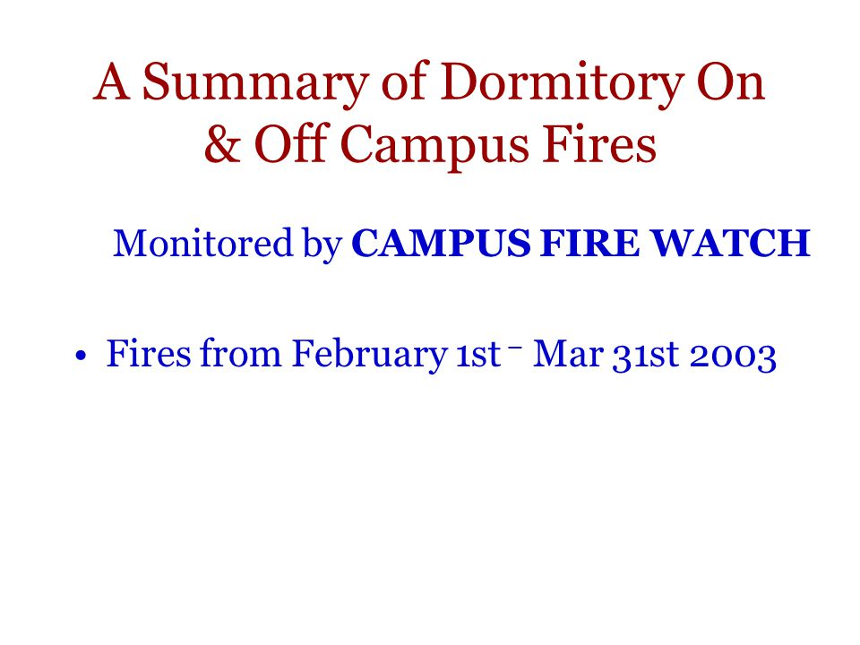 A Summary of Dormitory On & Off Campus Fires