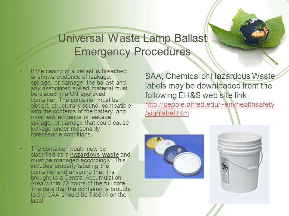 Universal Waste Lamp Ballast Emergency Procedures