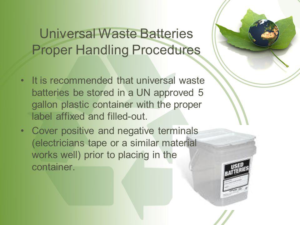 Universal Waste Batteries Proper Handling Procedures