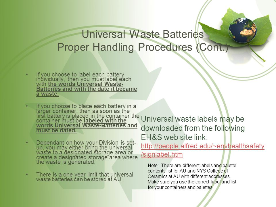 Universal Waste Batteries Proper Handling Procedures (Cont.)