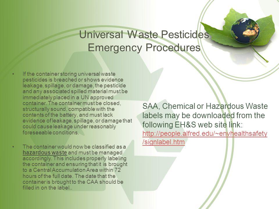 Universal Waste Pesticides Emergency Procedures