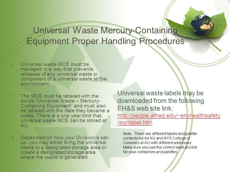 Universal Waste Mercury-Containing Equipment Proper Handling Procedures