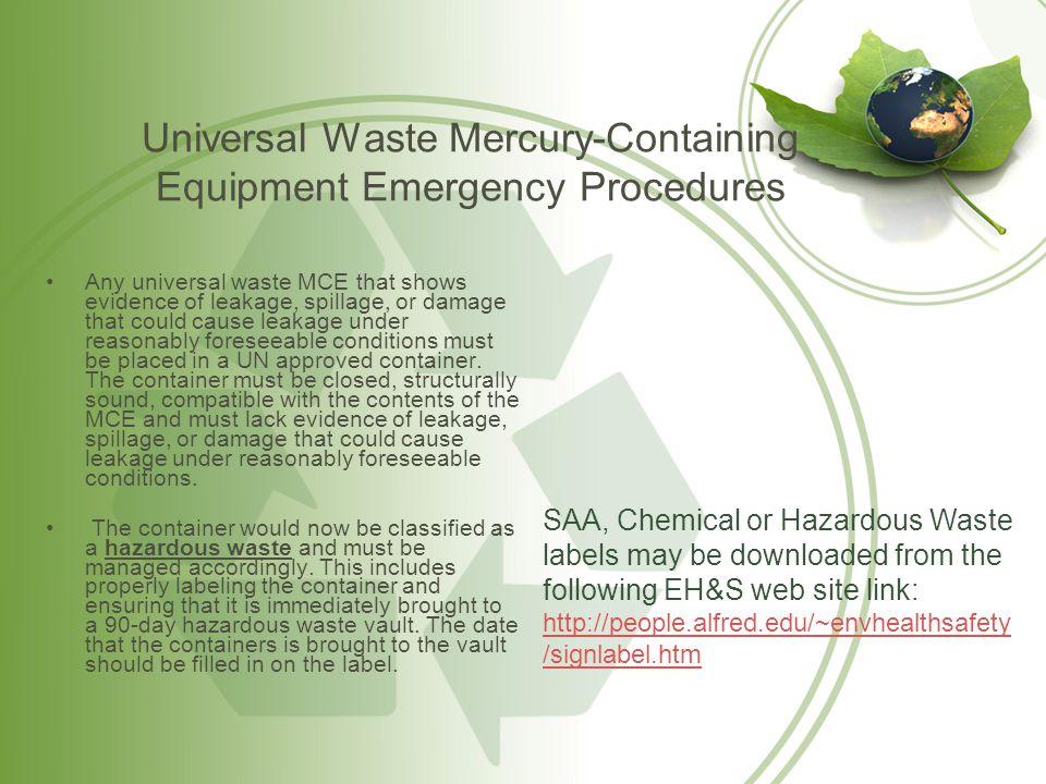 Universal Waste Mercury-Containing Equipment Emergency Procedures