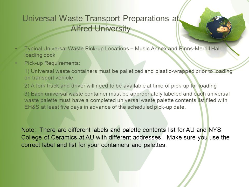 Universal Waste Transport Preparations at Alfred University