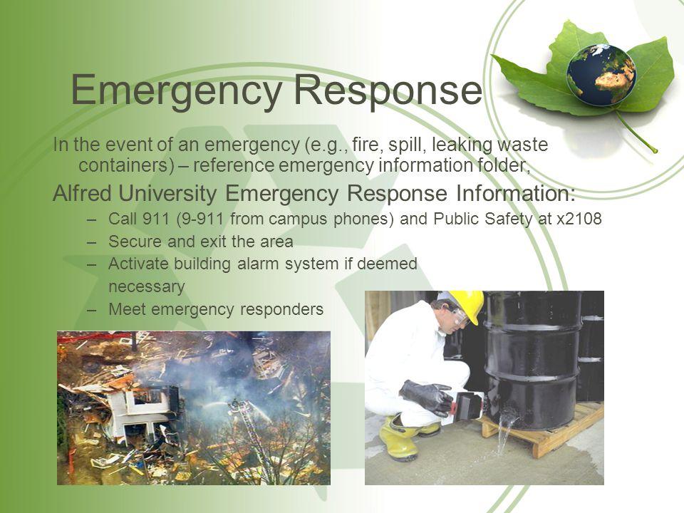 Emergency Response Alfred University Emergency Response Information: