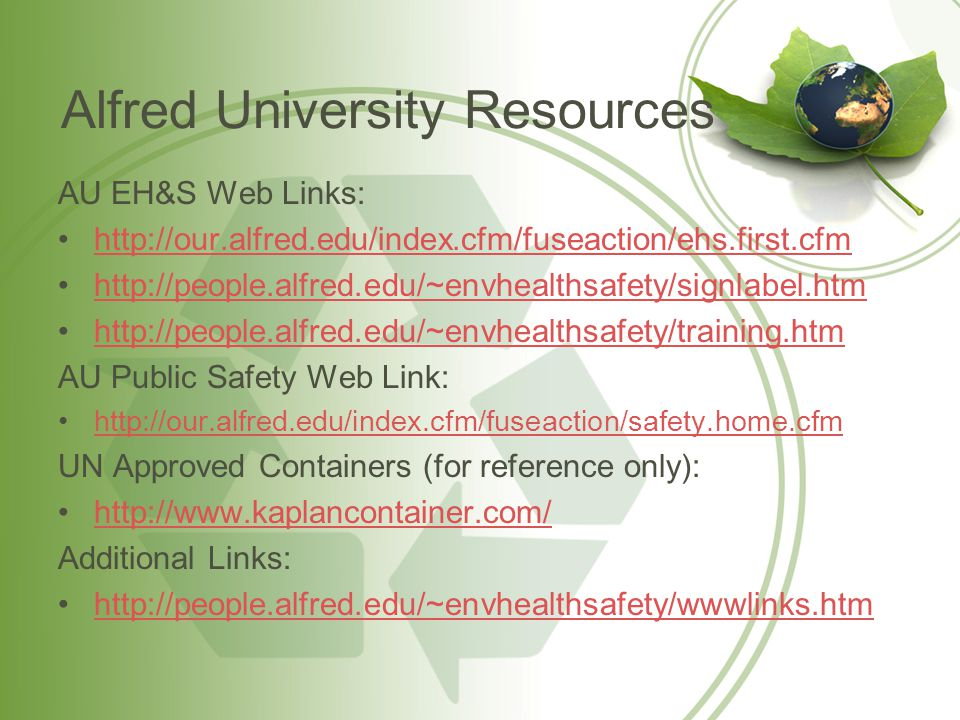 Alfred University Resources