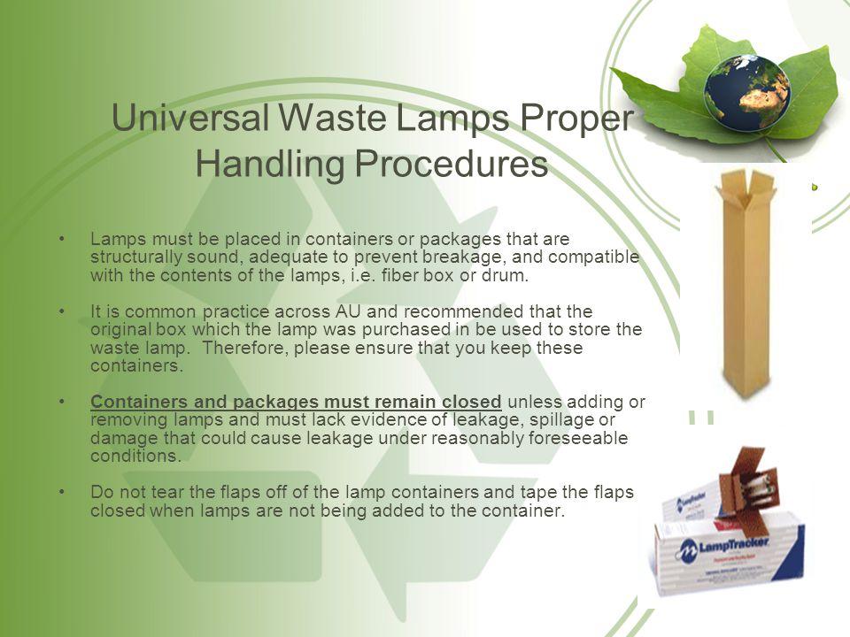 Universal Waste Lamps Proper Handling Procedures