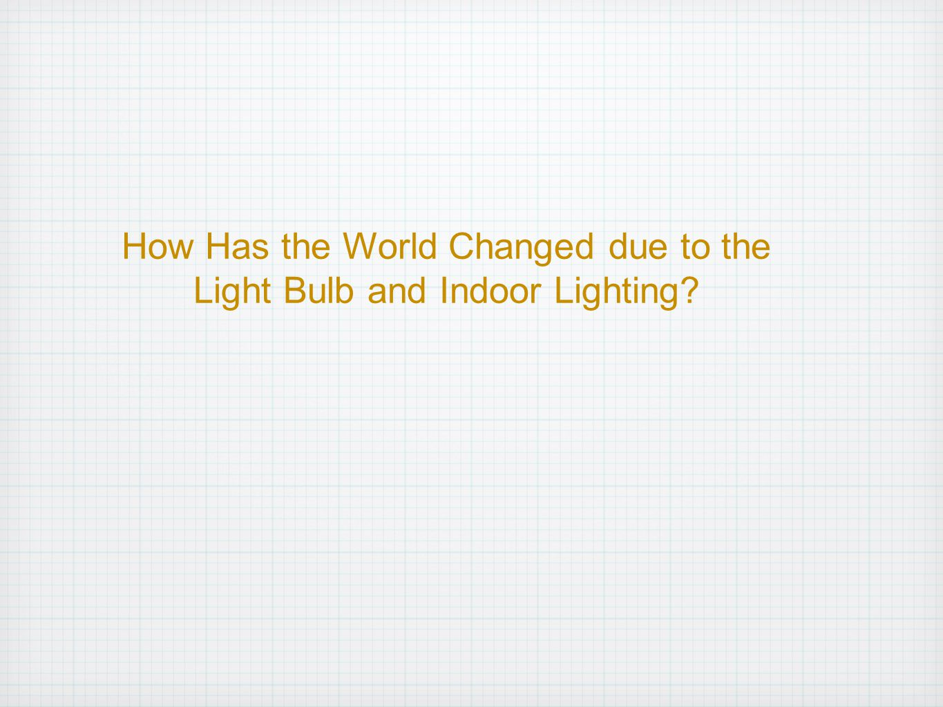 How Has the World Changed due to the Light Bulb and Indoor Lighting