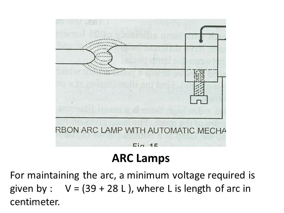 ARC Lamps For maintaining the arc, a minimum voltage required is given by : V = (39 + 28 L ), where L is length of arc in centimeter.