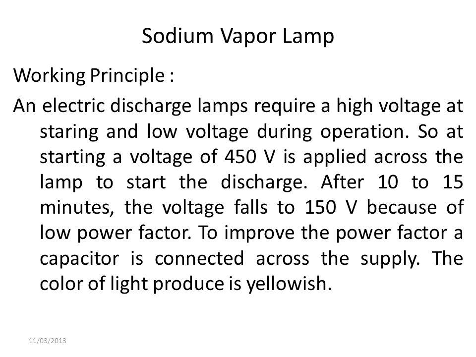 Sodium Vapor Lamp Working Principle :