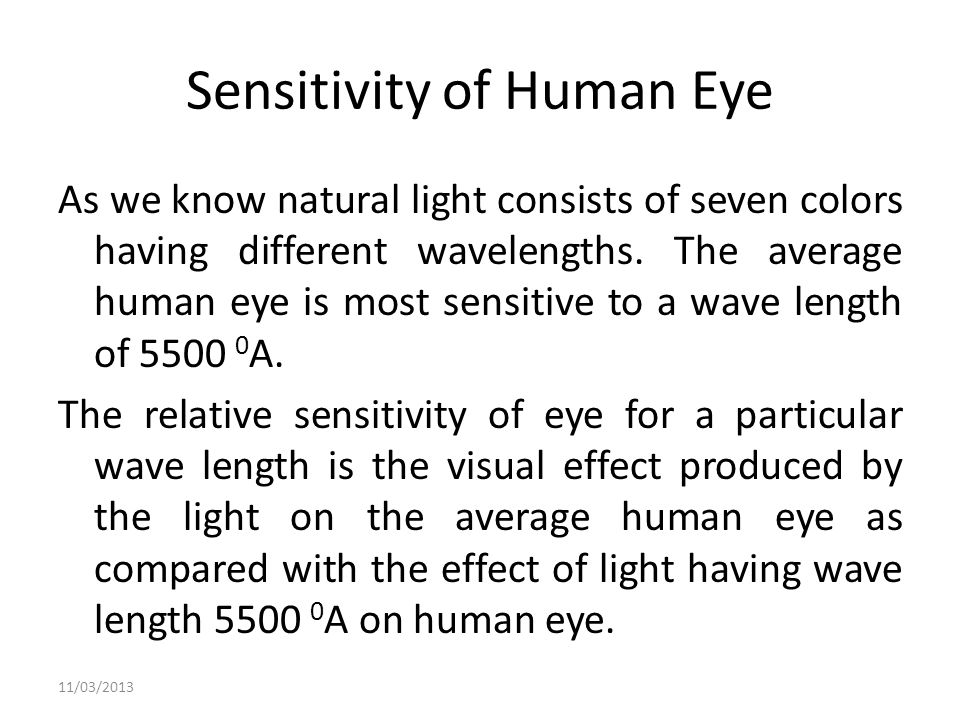 Sensitivity of Human Eye