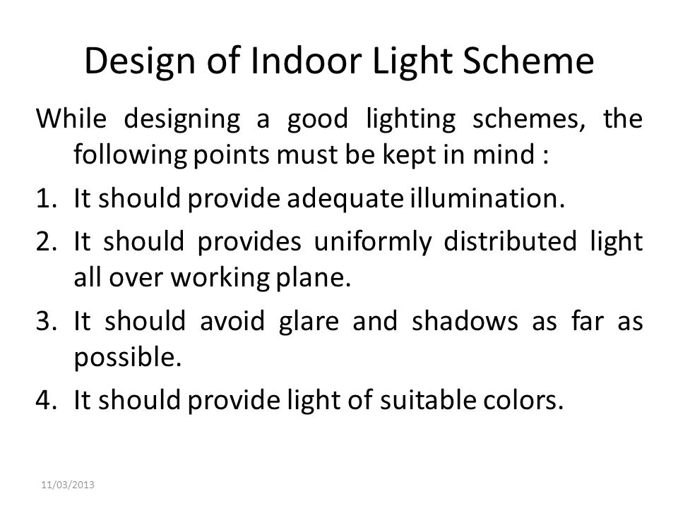 Design of Indoor Light Scheme