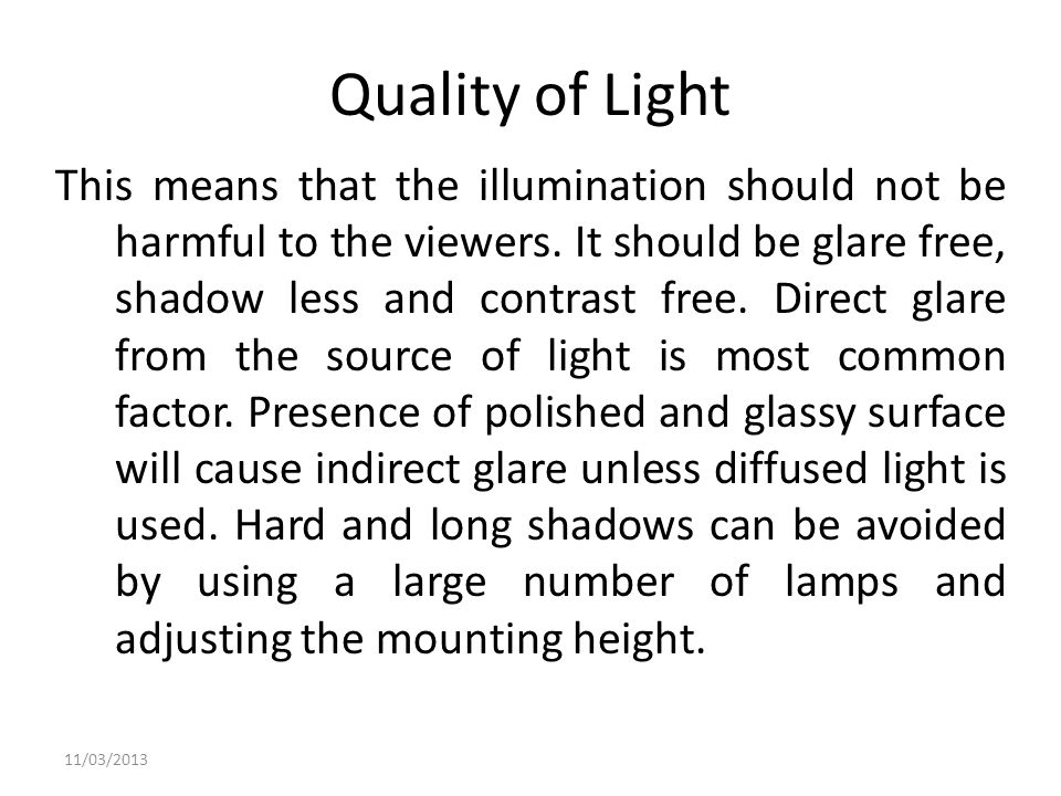 Quality of Light