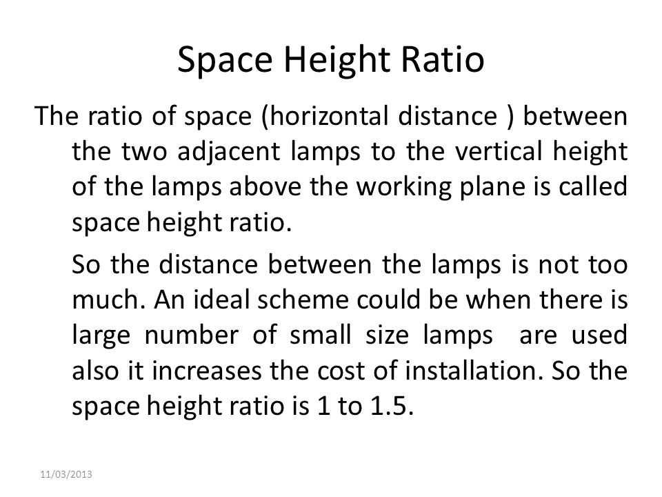 Space Height Ratio