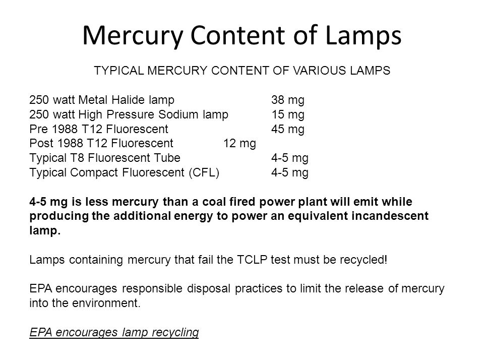 Mercury Content of Lamps