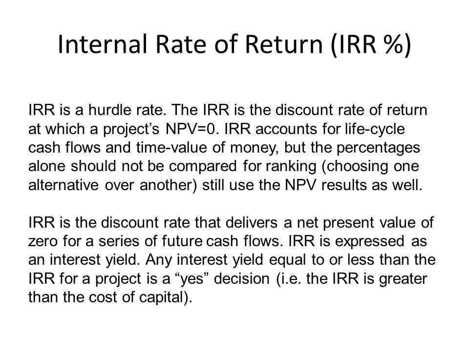 Internal Rate of Return (IRR %)