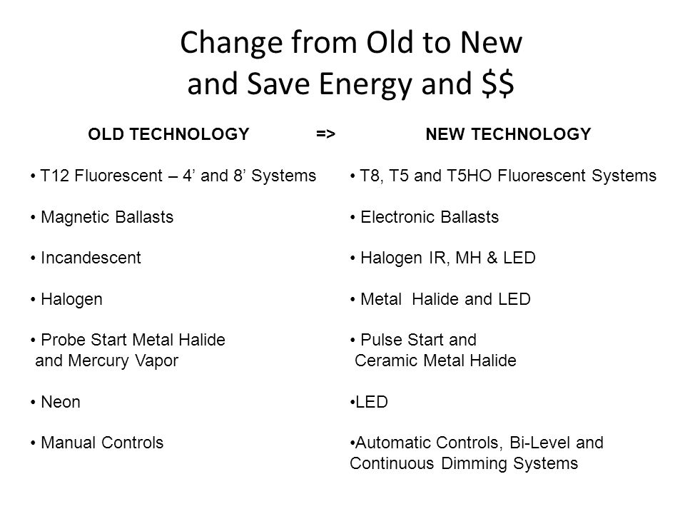 Change from Old to New and Save Energy and $$