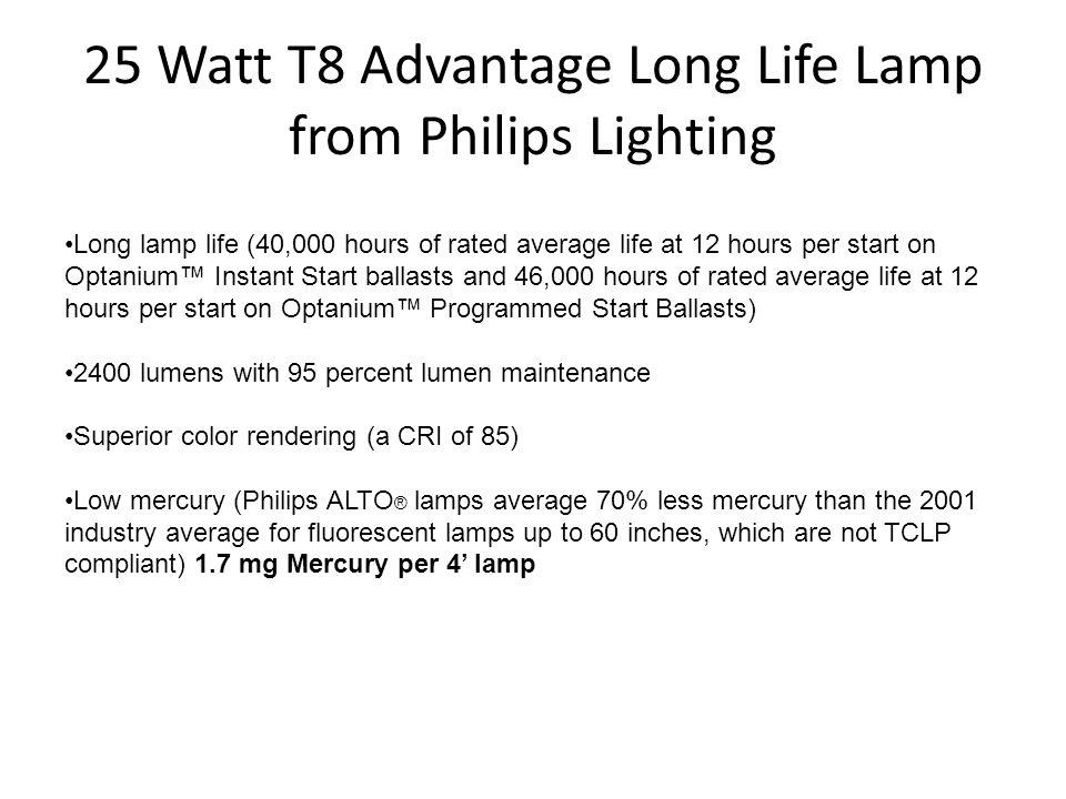 25 Watt T8 Advantage Long Life Lamp from Philips Lighting