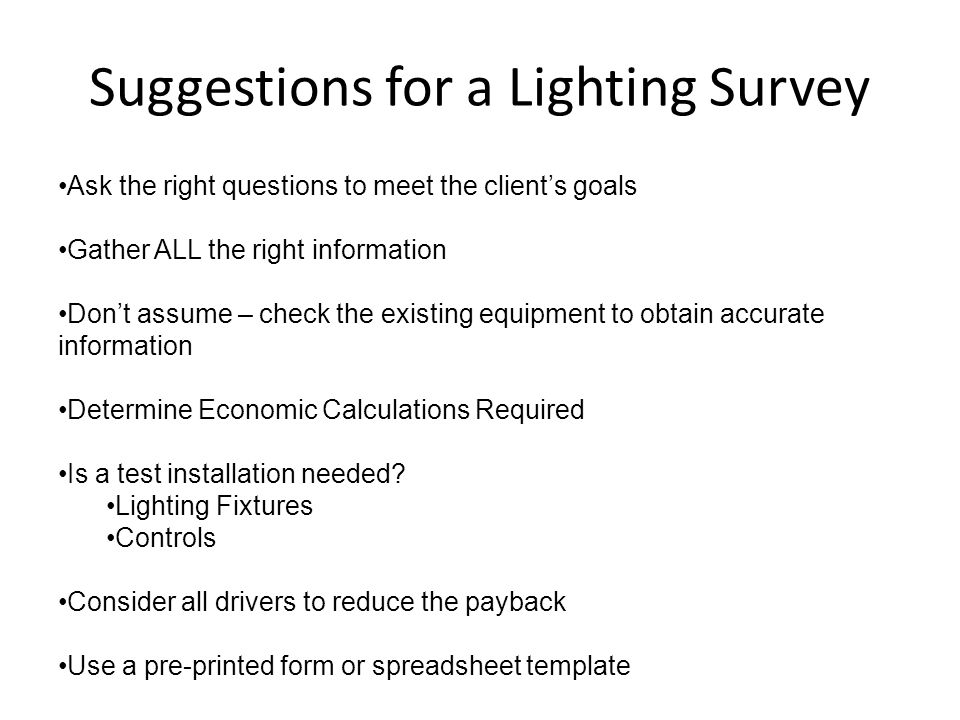 Suggestions for a Lighting Survey