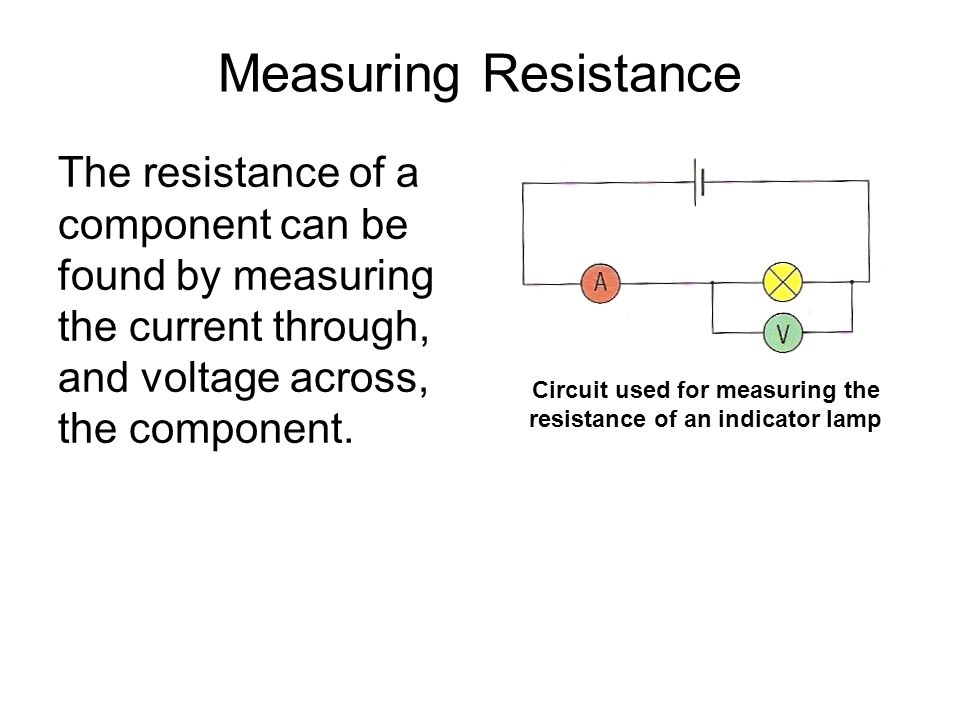 Circuit used for measuring the resistance of an indicator lamp