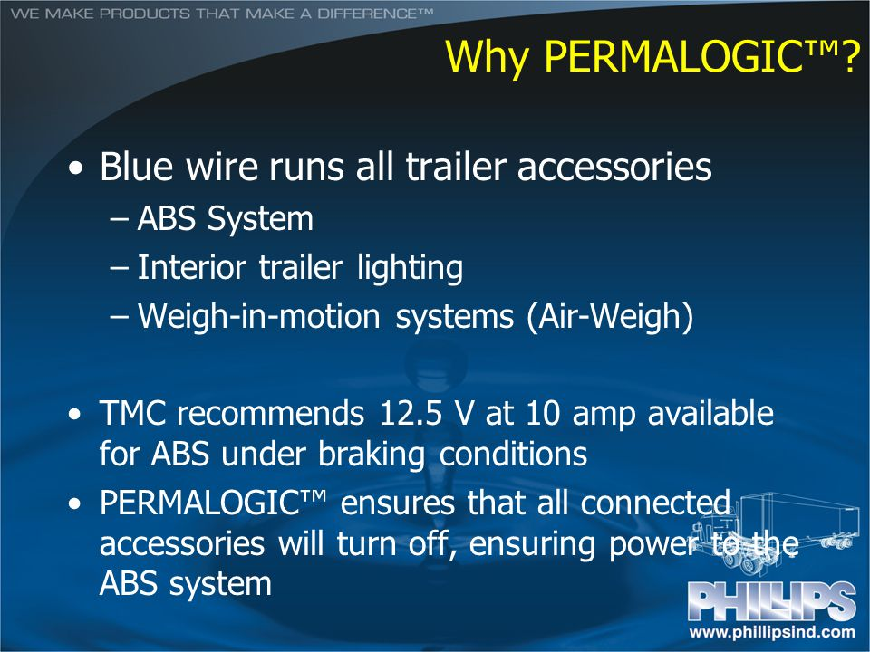 Why PERMALOGIC™ Blue wire runs all trailer accessories ABS System