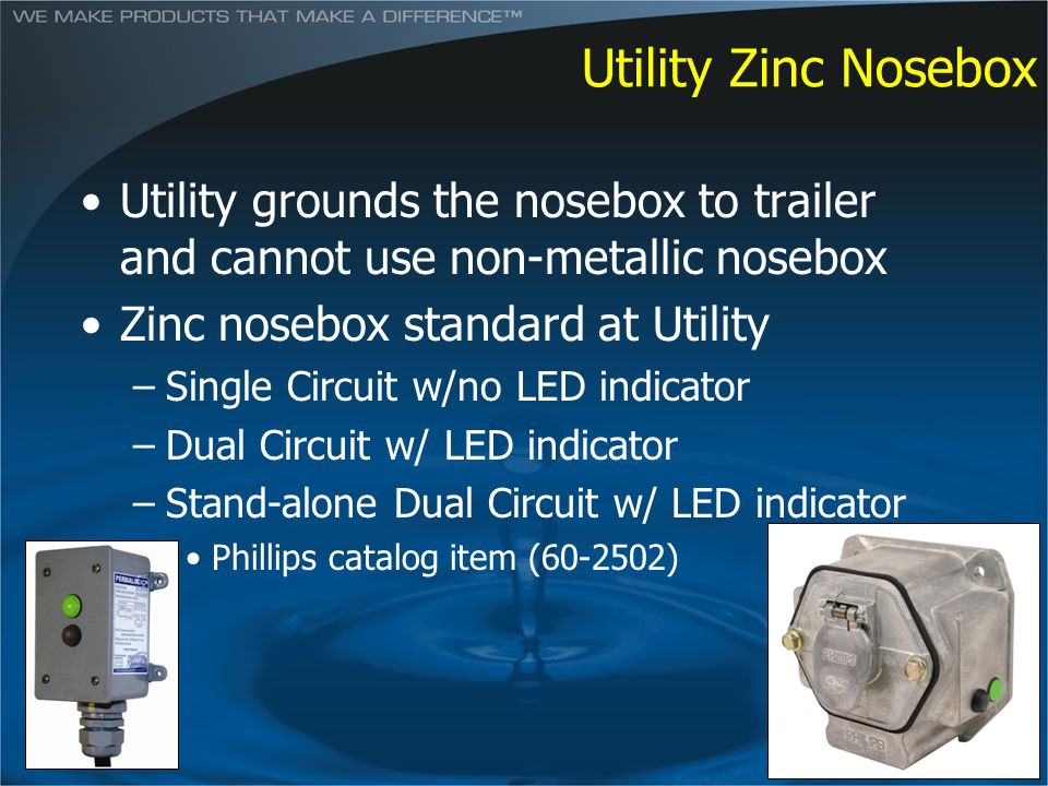 Utility Zinc Nosebox Utility grounds the nosebox to trailer and cannot use non-metallic nosebox. Zinc nosebox standard at Utility.