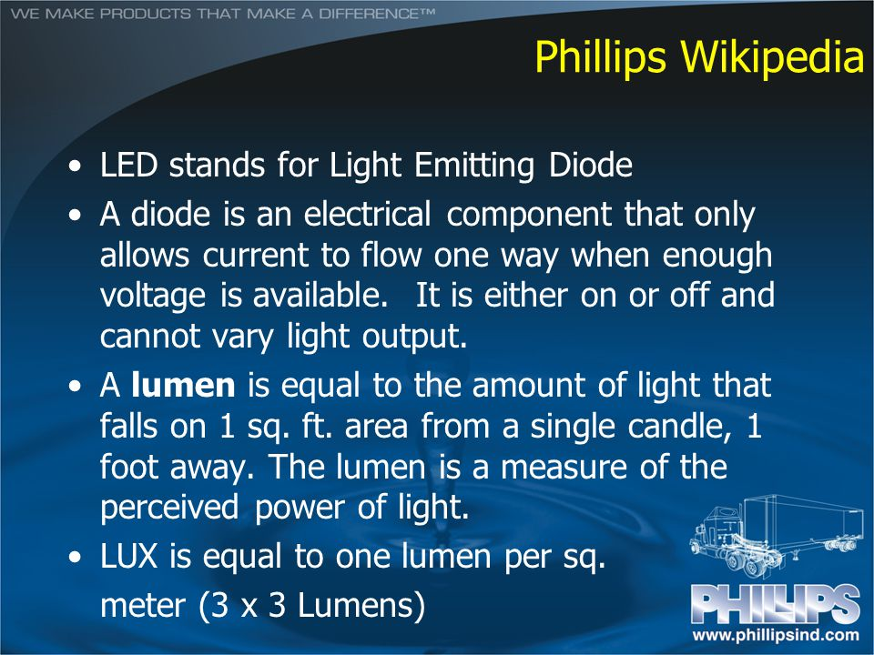 Phillips Wikipedia LED stands for Light Emitting Diode