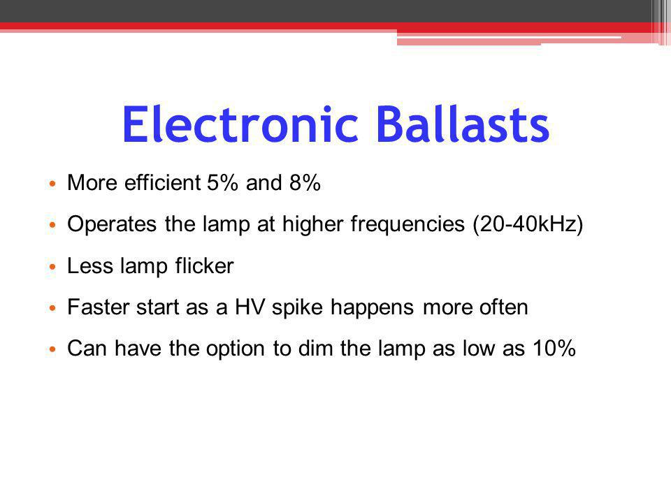 Electronic Ballasts More efficient 5% and 8%